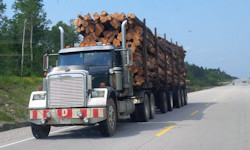 Truck with a load of lumber